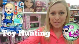 Mom went Toy Hunting Pikmi pops, Shopkins Squish dee lish,  lol series 2, Baby Alive Snackin luke!