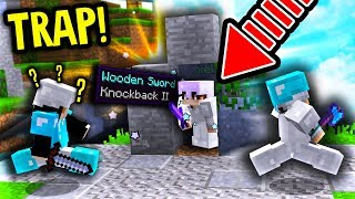 TRAPPING A HACKER IN DUELS! (Minecraft Skywars)