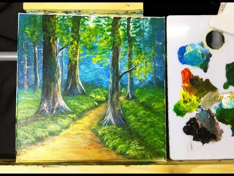 How To Paint Landscapes With Acrylic, Green Forest by NCT – Vẽ tranh phong cảnh rừng xanh #31