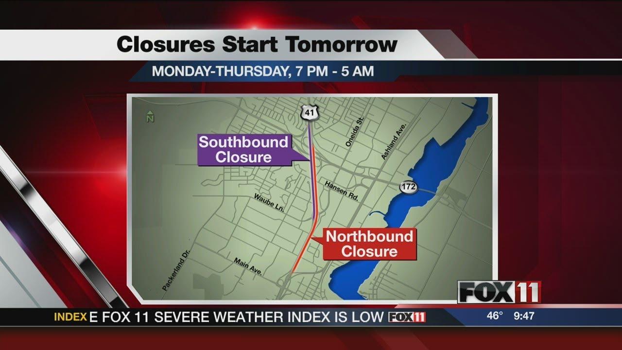 Hwy 41 closures set for Monday through Thursday