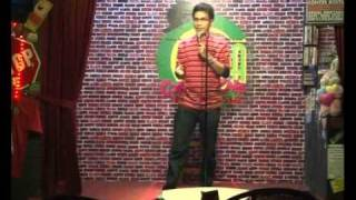 One of the pioneer of Stand Up Comedy in Indonesia, comedian IWEL WEL, live on stage at the comedy cafe indonesia (comedy cafe @ kemang) in Jakarta.