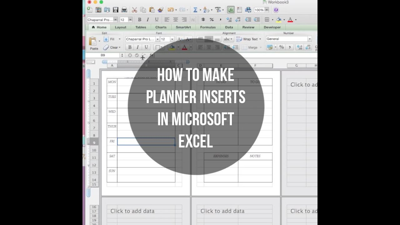 How To Make Planner Inserts Using Microsoft Excel Youtube