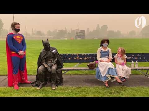 Superheroes Spread Joy At Holiday Farm Fire Evacuation Site In Springfield, Oregon