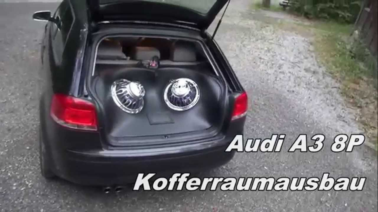 audi a3 8p kofferraumausbau hifonics youtube. Black Bedroom Furniture Sets. Home Design Ideas