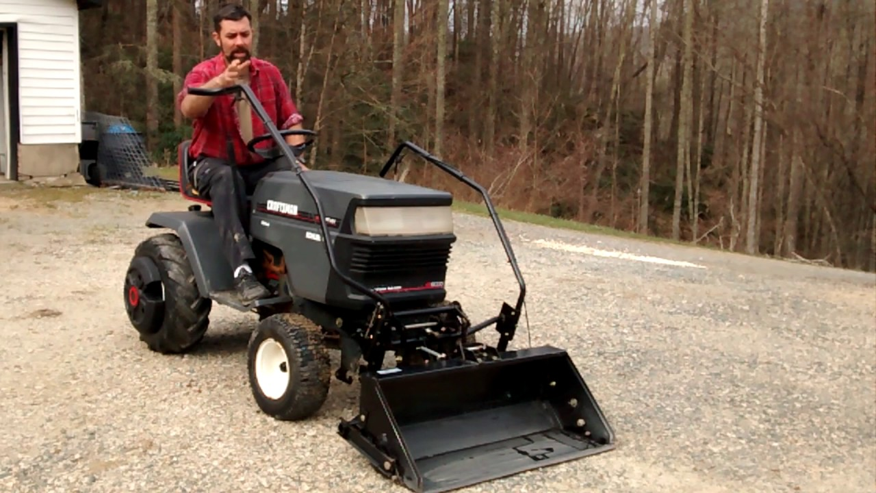 lawn tractor front scoop review and demonstration - Garden Tractor Front End Loader Kits