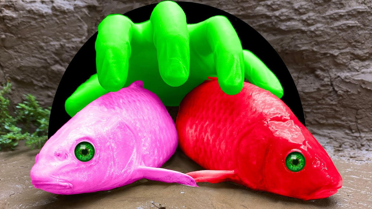 Stop Motion Koi Funny Moments - Hand Fishing Underground Holes for Mud Mukbang 4k | Unusual Cooking
