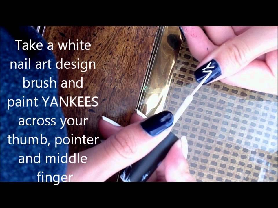 Yankees Nail Art Tutorial - YouTube
