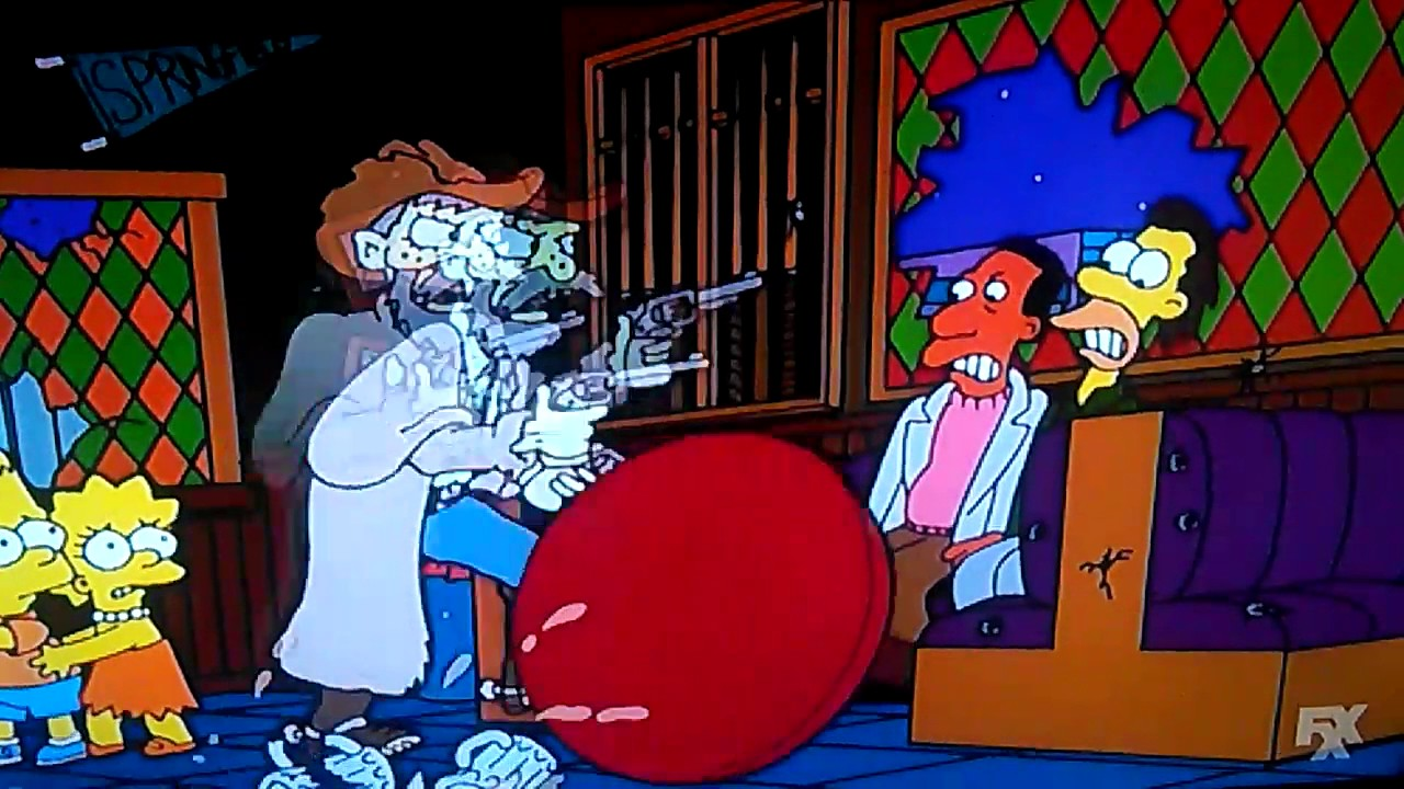 4 CowBoys and Kaiser Wilhelm II Goes Guns Crazy Shooting at Moe's Bar on The Simpsons