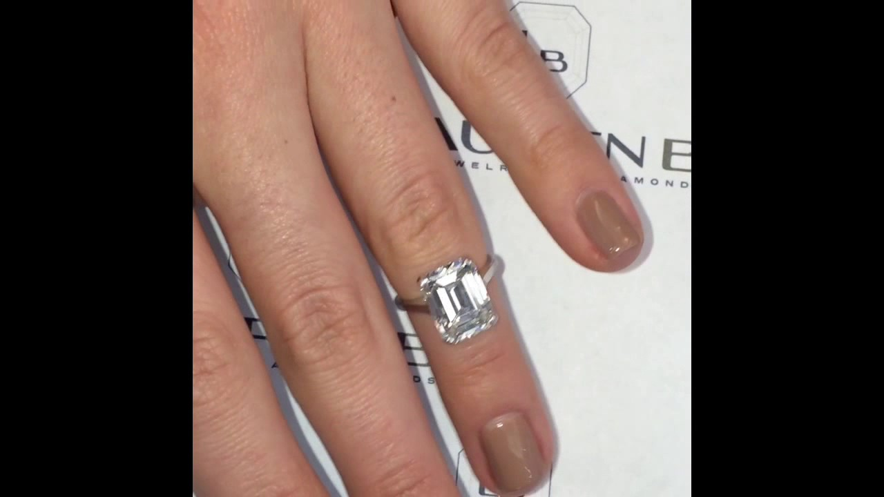 5+ Carat Emerald Cut Diamond Ring - YouTube
