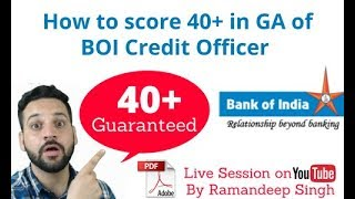 How to score 40+ in General Awareness section of Bank of India Credit Officer Exam