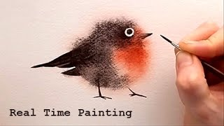 "Explained Real Time Watercolor Illustration ""Fuzzy Bird"" Painting by Iraville"