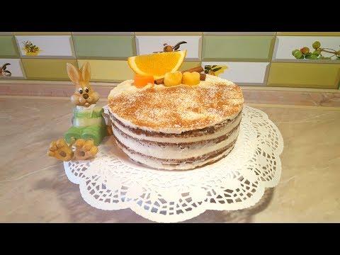 Морковный торт с апельсиновым конфитюром! Низкокалорийный!!! (пп рецепт)