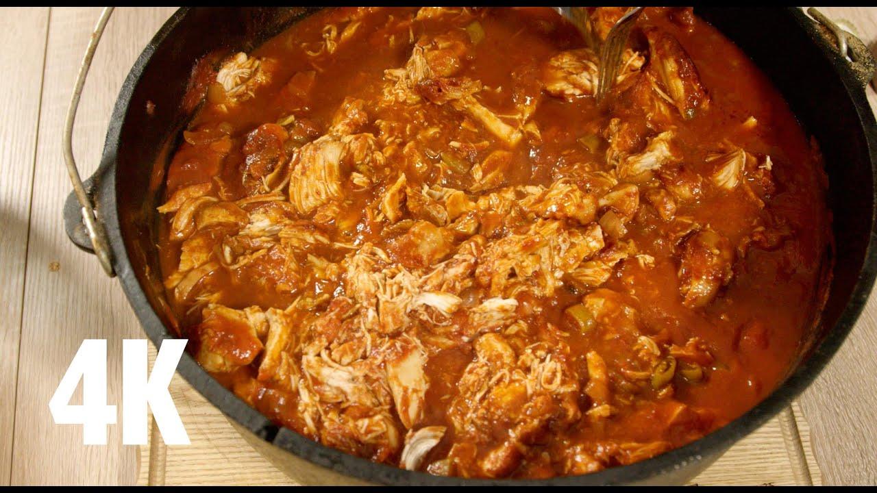 Pulled Pork Gasgrill Dutch Oven : Pulled chicken im dutch oven bbq grill rezept video die