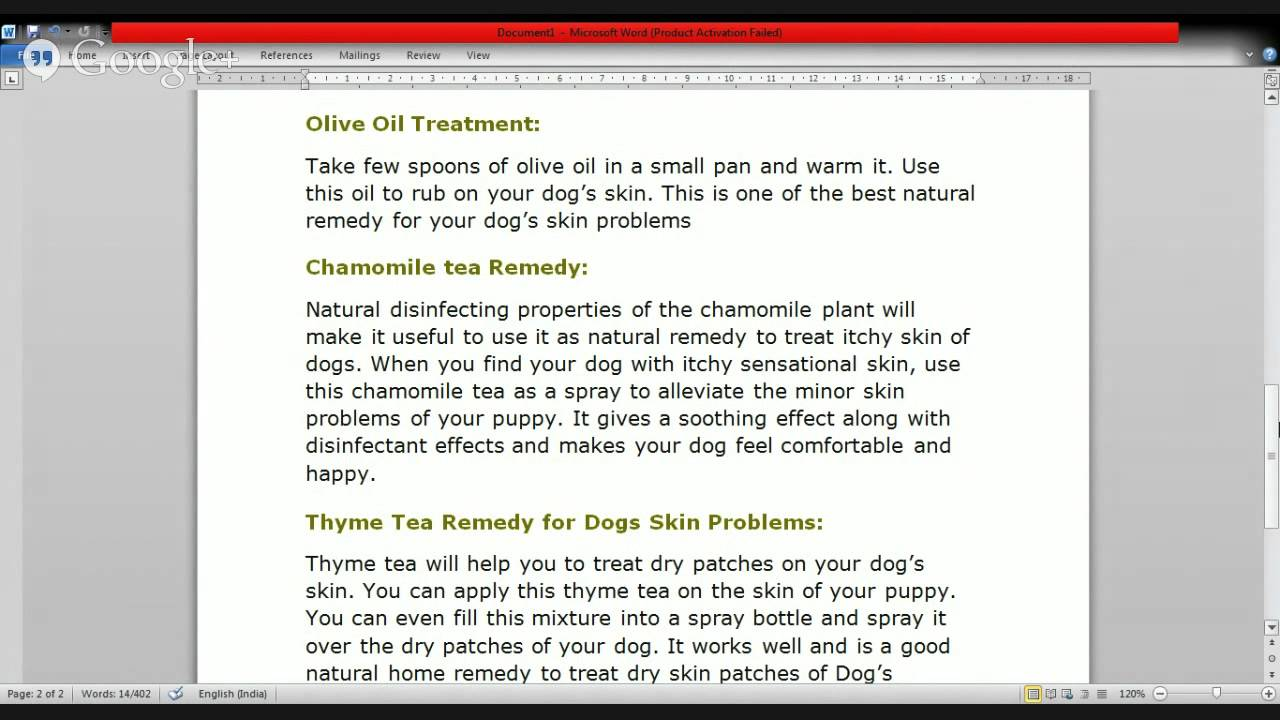 Dog Itchy Skin Treatment Natural