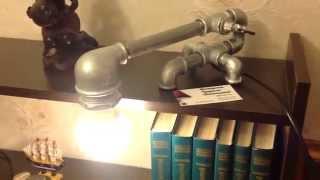 Светильник из труб своими руками!!!! Темно-включи кран!!(Мастерская чугунных светильников KENLAMP, представляет новый светильник из труб с краном-выключателем. Патрон..., 2015-04-28T21:26:17.000Z)