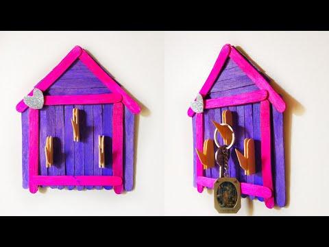 DIY|Best out of waste|how to make popsiclestick Key holder|Creative Craft by Kalakar Supriya
