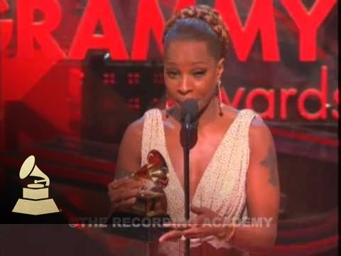 Mary J Blige accepting the GRAMMY for Best Female R&B Vocal Performance at the 49th GRAMMY Awards