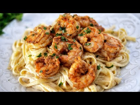 THE BEST CAJUN SHRIMP FETTUCCINE ALFREDO PASTA RECIPE!