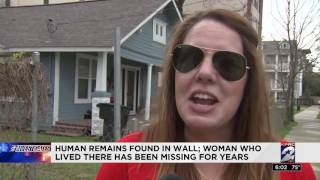 Human remains found in wall; woman who lived there has been missing for years