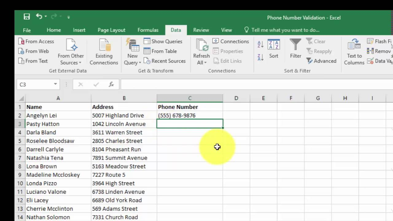 Validating phone numbers in access