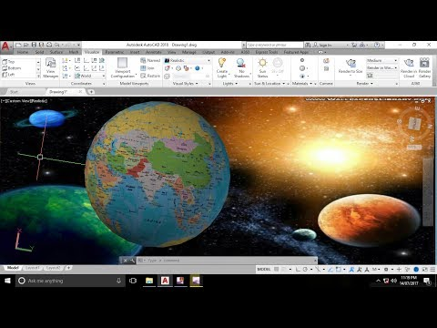How to add image texture with Spherical Material Mapping In AutoCAD 2018 - Solar Planet theme