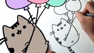 How to draw Cute Pusheen the cat with balloons
