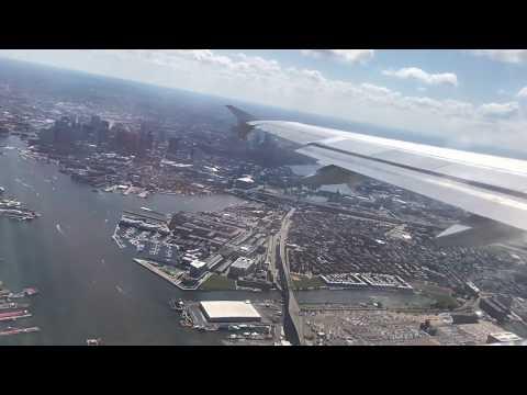 Boston Logan International Airport Takeoff - Amazing Boston Downtown Aerial View