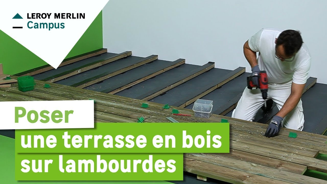comment poser une terrasse en bois sur lambourdes leroy merlin youtube. Black Bedroom Furniture Sets. Home Design Ideas