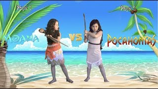 Hula Hoop Challenge Moana vs Pocahontas | Disney Princesses play Hula Hoop at the Beach