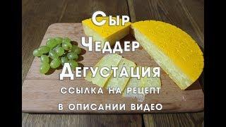 Сыр Чеддер , дегустация раннее приготовленного сыра , ссылка на приготовление в описании