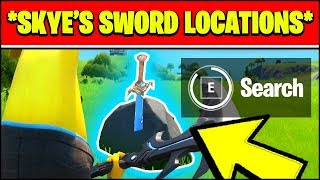 Search SKYE'S SWORD IN A STONE found in high places ALL LOCATIONS (Fortnite)