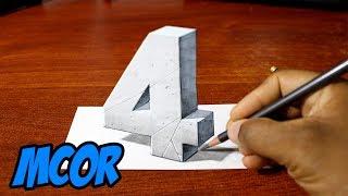 """Dibujando el Numero """"4"""" en 3D - Truco - Ilusión Optica"""