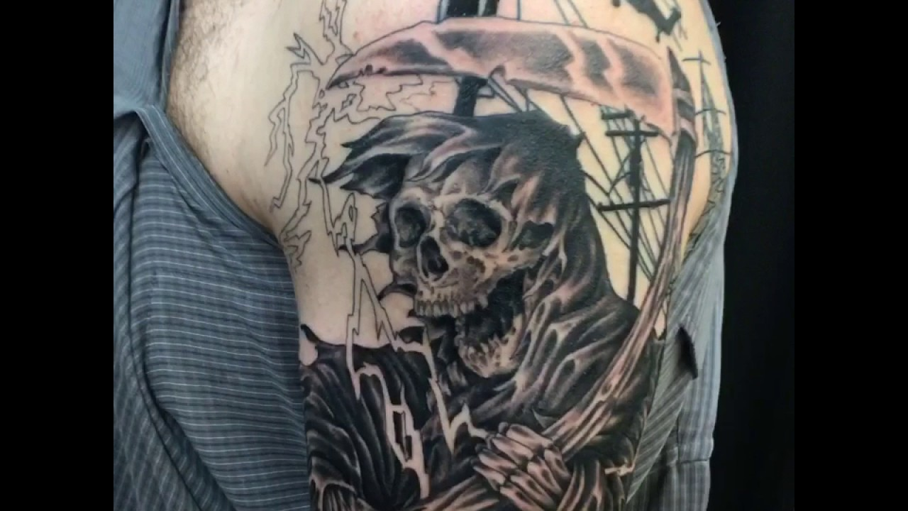 grim reaper lineman tattoo in progress by hunterurscum youtube. Black Bedroom Furniture Sets. Home Design Ideas