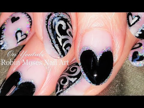 Black and Silver Hearts Nail Art DIY  | Holo Heart Nails Design Tutorial
