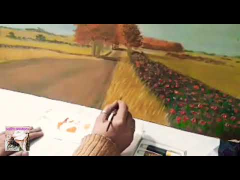 how to paint grass/oil painting /country road painting by ooops creations
