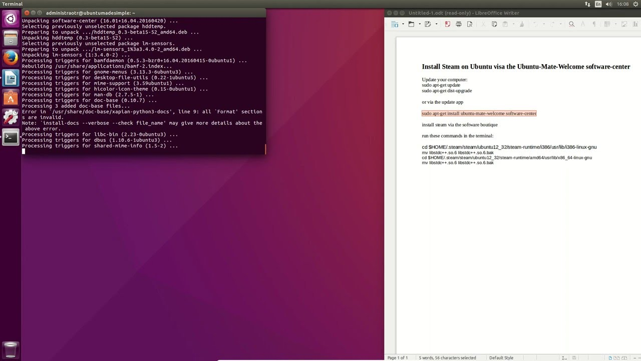 How to install Steam on Ubuntu 16 04 with Mate Software Boutique