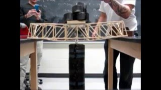 Your classic balsa wood bridge project, captured in slow motion as each one breaks.