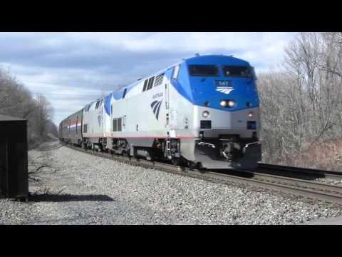 """Amtrak 48 w/ repainted Viewliner dining car """"Indianapolis"""" at Verona, NY 3/21/16"""