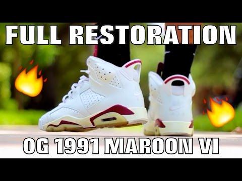 OG 1991 MAROON 6 FULL SNEAKER RESTORATION!!