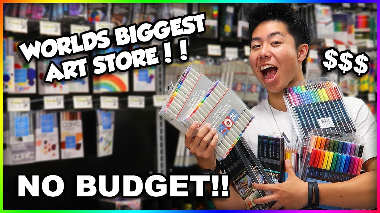 NO BUDGET AT WORLDS BIGGEST ART SUPPLY STORE SHOPPING SPREE + HUGE GIVEAWAY!! - YouTube