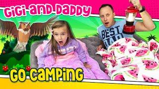 Gigi and daddy go camping in their backyard