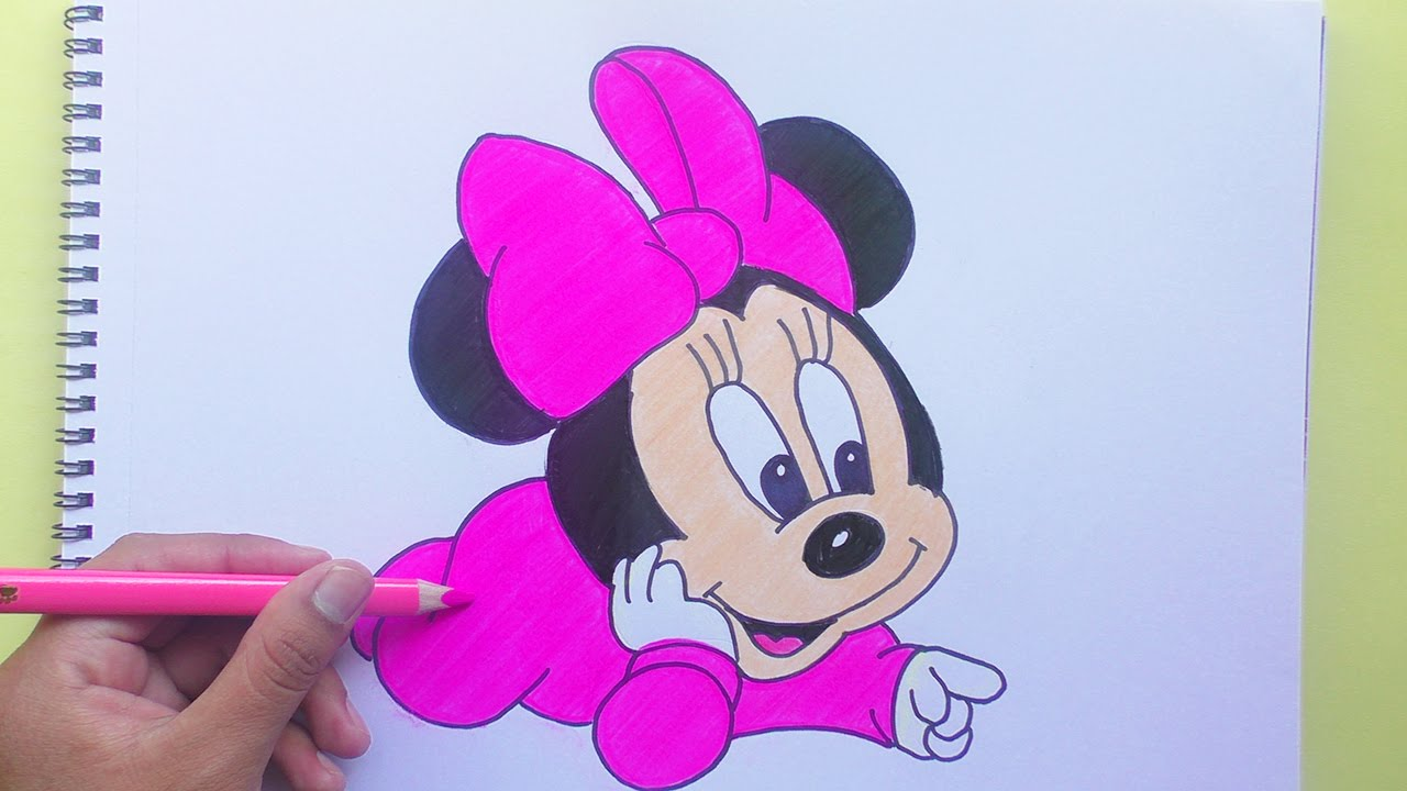 Dibujando Y Coloreando Minnie Baby Mickey Mouse Drawing And Coloring Baby Minnie
