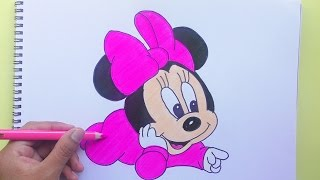 Dibujando y Coloreando Minnie Baby (Mickey Mouse) - Drawing and coloring Baby Minnie