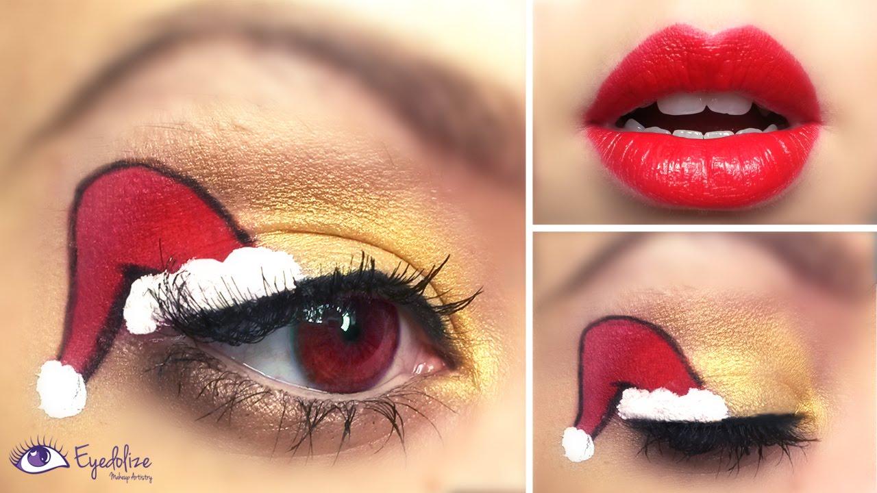 Santa Hat Christmas Eyeshadow Tutorial By EyedolizeMakeup