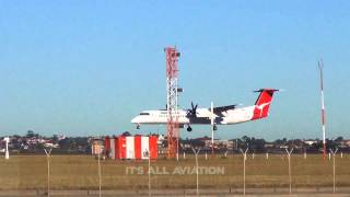 QantasLink Dash 8 Q400 arrives on Sydney
