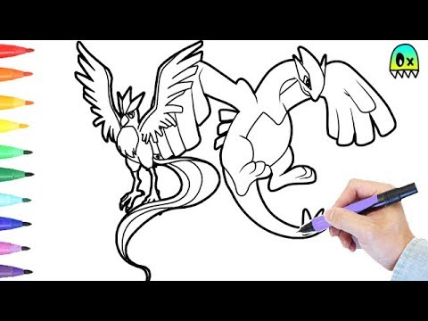 pokemon coloring pages lugia and articuno colouring book fun
