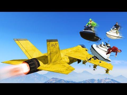 CRAZY JET SKI VS JETS! (GTA 5 Funny Moments)