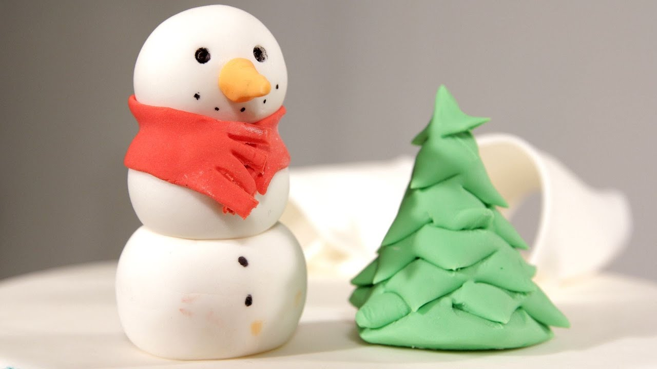 How to make a snowman christmas tree topper - How To Make A Fondant Christmas Tree Cake Fondant