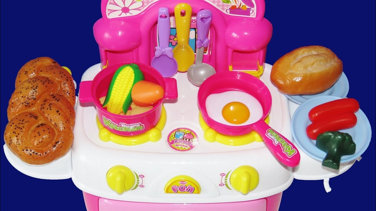 Toy Kitchen Cooking Baking Play Doh Bread Slime Egg Velcro