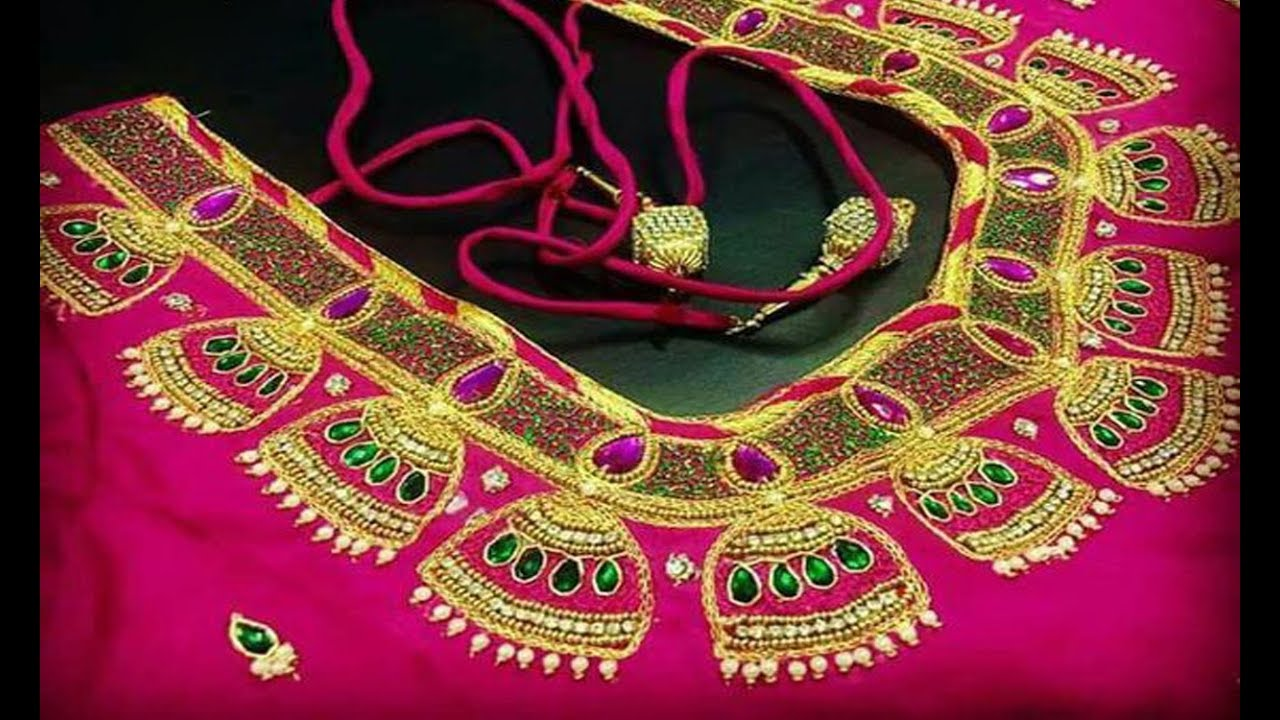 6d85216f1e9712 Amazing Aari Embroidery Work Blouse Designs For Wedding Pattu Sarees ...